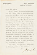 Autographs:Non-American, Sigmund Freud Typed Letter Signed...