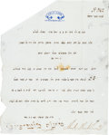 Autographs:Celebrities, Sir Moses Montefiore Letter Twice Signed....