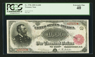 Featured item image of Fr. 379b $1000 1890 Treasury Note PCGS Extremely Fine 40.  ...