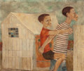 Fine Art - Painting, American:Contemporary   (1950 to present)  , JULIA PEARL (American, 20th Century). Two Boys, 1950. Oil oncanvas. 30 x 36 inches (76.2 x 91.4 cm). Signed and dated i...