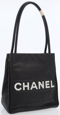 Luxury Accessories:Bags, Chanel Black Lambskin Leather Tote Bag with Camellia Flower Detail....