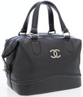 Luxury Accessories:Bags, Chanel Black Leather Top Handle Bag with Brushed Silver Hardware....