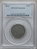 Half Cents: , 1833 1/2 C -- Altered Surfaces -- PCGS Genuine. Mintage: 120,000....