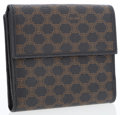 Luxury Accessories:Accessories, Celine Navy & Brown Monogram Canvas Bifold Wallet. ...
