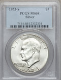 Eisenhower Dollars: , 1973-S $1 Silver MS68 PCGS. PCGS Population (822/3). NGC Census: (142/1). Mintage: 869,400. Numismedia Wsl. Price for probl...