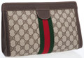 Luxury Accessories:Travel/Trunks, Gucci Classic Monogram Waxed Canvas Travel Case with Classic Red& Green Stripe. ...