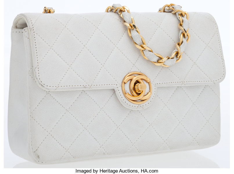 aad65b21a3236b Luxury Accessories:Bags, Chanel White Lambskin Leather Mini Flap Bag with  Gold Hardware.