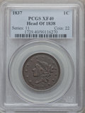 Large Cents: , 1837 1C Head of 1838 XF40 PCGS. PCGS Population (21/265). NGCCensus: (10/548). Mintage: 5,558,300. Numismedia Wsl. Price f...