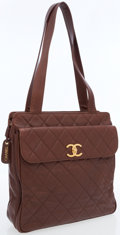 Luxury Accessories:Bags, Chanel Brown Quilted Lambskin Leather Tote Bag with Gold Hardware....