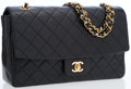 Luxury Accessories:Bags, Chanel Black Lambskin Leather Medium Classic Flap Bag with GoldHardware. ...
