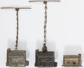Political:Small Miscellaneous (pre-1896), Benjamin Harrison: Three Log Cabin Spelter Fobs.... (Total: 3 Items)