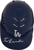 Baseball Collectibles:Hats, Tommy Lasorda Signed Los Angeles Dodgers Batting Helmet....