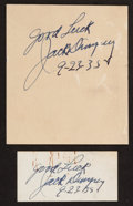 Boxing Collectibles:Autographs, Jack Dempsey Signed Cut Signatures Lot of 2....
