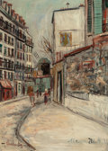 Fine Art - Painting, European:Modern  (1900 1949)  , MAURICE UTRILLO (French, 1883-1955). Rue Lepic à Montmartre, circa 1933. Oil on panel. 12-7/8 x 9-1/8 inches (32.7 x 23....
