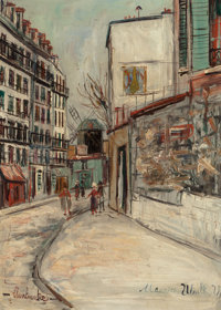 MAURICE UTRILLO (French, 1883-1955) Rue Lepic à Montmartre, circa 1933 Oil on panel 12-7/8 x 9-1/