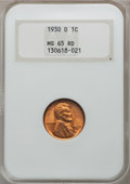 Lincoln Cents: , 1930-D 1C MS65 Red NGC. NGC Census: (198/130). PCGS Population(464/119). Mintage: 40,100,000. Numismedia Wsl. Price for pr...