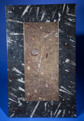 Lapidary Art:Tables / Tabletops, FOSSIL ORTHOCERAS INLAID TABLE TOP. Orthoceras sp., Agoniatites sp.. Devonian. Sahara Desert, near Talmud, Morocco...