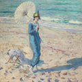Fine Art - Painting, American:Modern  (1900 1949)  , FREDERICK CARL FRIESEKE (American, 1874-1939). On the Beach(Girl in Blue), 1913. Oil on canvas. 32 x 32 inches (81.3 x ...