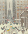 Fine Art - Painting, American:Contemporary   (1950 to present)  , GUY CARLETON WIGGINS (American, 1883-1962). Wall Street Storm(Old Trinity, New York), 1956. Oil on canvas. 30 x 25 inch...(Total: 2 Items)