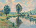 Works on Paper, ARMAND GUILLAUMIN (French, 1841-1927). Bord de rivière, circa 1900. Pastel on wove paper. 19-3/4 x 25-5/8 inches (50.2 x...