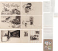 Books:Original Art, Garth Williams. Six Original Double-Page Preliminary Ink Drawingsfor The Sky Was Blue by Charlotte Zolotow. Drawi...