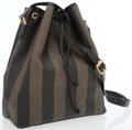Luxury Accessories:Bags, Fendi Pequin Striped Waxed Canvas Drawstring Tote Bag. ...