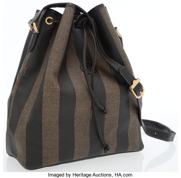 71ac4835aa43 Fendi Pequin Striped Waxed Canvas Drawstring Tote Bag. ... Luxury ...