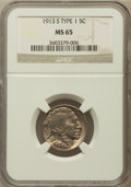 Buffalo Nickels: , 1913-S 5C Type One MS65 NGC. NGC Census: (221/69). PCGS Population(310/144). Mintage: 2,105,000. Numismedia Wsl. Price for...