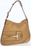 Luxury Accessories:Bags, Gucci Bronze Pebbled Leather Shoulder Bag with Gold Horsebit. ...