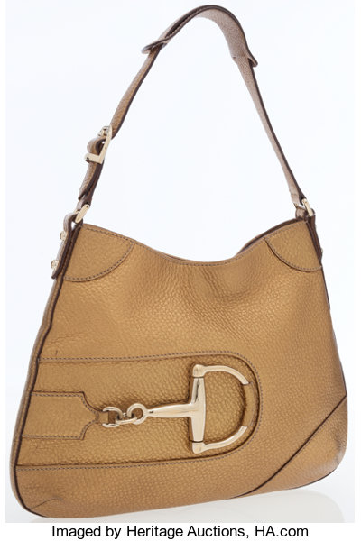 91aac52a6e3 Gucci Bronze Pebbled Leather Shoulder Bag with Gold Horsebit ...