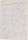 Football Collectibles:Others, Curly Lambeau Handwritten Signed Letter - March 15, 1965 (Green Bay Packers Famed Coach)....
