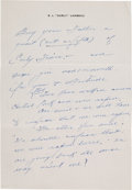 Football Collectibles:Others, Curly Lambeau Handwritten Letter - Undated (Green Bay Packers Famed Coach)....