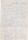 Football Collectibles:Others, Curly Lambeau Handwritten Signed Letter - March 14, 1965 (Green Bay Packers Famed Coach)....
