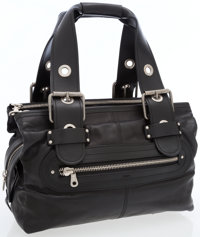 Chloe Black Leather Bag with Antiqued Silver Hardware and Chain Shoulder Strap