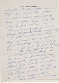 Football Collectibles:Others, Curly Lambeau Handwritten Signed Letter - March 23, 1965 (Green BayPackers Famed Coach)....