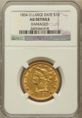 Liberty Eagles, 1854-O $10 Large Date -- Damaged -- NGC Details. AU. Variety 2....