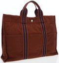 Luxury Accessories:Bags, Hermes Marron & Blue Marine Canvas Fourre Tout Tote Bag. ...