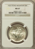 Commemorative Silver: , 1925 50C Stone Mountain MS67 NGC. NGC Census: (131/9). PCGSPopulation (164/4). Mintage: 1,314,709. Numismedia Wsl. Price f...