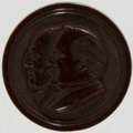 Political:Ferrotypes / Photo Badges (pre-1896), Cleveland & Hendricks: Jugate Hard Rubber Badge. ...