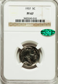 Proof Buffalo Nickels: , 1937 5C PR67 NGC. CAC. NGC Census: (321/40). PCGS Population(434/13). Mintage: 5,769. Numismedia Wsl. Price for problem fr...