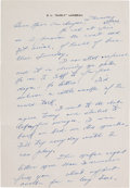 Football Collectibles:Others, Curly Lambeau Handwritten Letter - March 18, 1965 (Green Bay Packers Famed Coach)....
