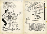 Al Capp Studio Li'l Abner and the Creatures from Drop-Outer Space (#nn) Double Splash Page 14-15 Original Art ... (Total...