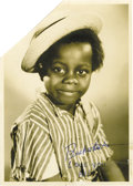 "Movie/TV Memorabilia:Autographs and Signed Items, Buckwheat Signed Photo. A 5 x 7 of the legendary Our Gangmember, signed in blue ink in lower right area ""Buckwheat Lov...(Total: 1 Item)"