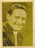 "Movie/TV Memorabilia:Autographs and Signed Items, Spencer Tracy Autographed Picture. Striking matte finish 5"" x 7""portrait of Spencer Tracy, circa 1935, about to begin his M...(Total: 1 Item)"