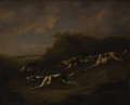 Fine Art - Painting, European:Antique  (Pre 1900), Circle of SAMUEL RAVEN (British 1775-1847). Hounds on theChase. Oil on wood panel. 9-3/4 x 11-1/2 inches (24.8 x 29.2c...
