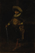 Paintings, CONTINENTAL SCHOOL (Nineteenth Century). Potrait of a Man with Sword, DATE. Oil on beveled wood board. 8-1/2 x 6 inches ...