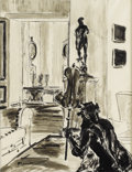 Fine Art - Painting, European:Modern  (1900 1949)  , TWENTIETH CENTURY SCHOOL. Interior. Ink and wash on paper.14-3/4 x 11-1/2 inches (37.6 x 29.2 cm). Signed illegibly low...