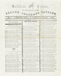 Miscellaneous:Newspaper, Civil War Regimental Newspaper: 2nd Colorado Cavalry's Soldier'sLetter....