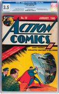 Golden Age (1938-1955):Superhero, Action Comics #20 (DC, 1940) CGC VG- 3.5 Cream to off-white pages....