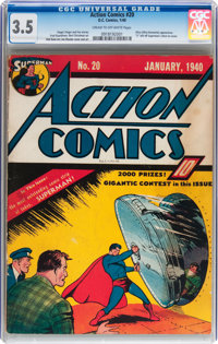 Action Comics #20 (DC, 1940) CGC VG- 3.5 Cream to off-white pages